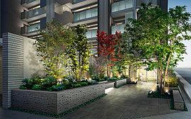 街並とプライベート空間をつなぐガーデンアプローチ。街並に彩りを添えるとともに、住まう方を優しく迎え入れます。