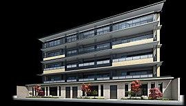 「プラウド京都御所東」では、素材の風合いを主役とした建物に、大屋根と同じ深い色調の庇が印象的な外観意匠を採用。古都に今様の瀟洒な屋敷として歴史を刻み始めるに相応しい邸宅建築を目指した。