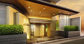 「プラウド京都御所東」のエントランスアプローチでは、平安の頃を由緒とする寝殿造りの優雅を再現。日常的なゲートウェイに古式豊かな表情を与えた。