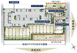 約5,400m2※の東西に広い整形の敷地を活かし、邸宅としての「ゆとり」にこだわった配棟計画。(※約1,633坪)