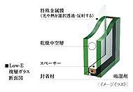 居室の窓には、高い遮熱・断熱性を備えた「Low-E(ロウ イー)複層ガラス」を採用しました。特殊金属膜によって室内への紫外線も軽減します。