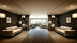 1階の共用部にはコミュニティラウンジを設置。空間を2つのエリアに分けて、過ごし方に合わせて使い分けられるようにしています。