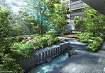 「プラウドシティ南浦和」のコミュニティの中心的スペースとなる「Nakaniwa」。豊かな樹々の間から柔らかな陽光が降り注ぐ空間には、景石ベンチ、ツリーベンチ、縁台、サイドテーブルなど、人々が集いやすい場を数多く設けました。