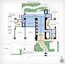 「1フロア4邸 ※1」×「2邸1基のエレベーター」。ホテルライクな内廊下など、プライベートな空間を随所に追求。※1 最上階は3邸 ※2 全51邸中45邸