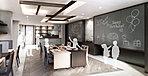 キッチンとテーブル、椅子を備え、誕生日会やパーティ、料理教室などに利用できます。また、WiFiを完備し、机はパーテーションで区切れるので、書斎や学習スペースとしての利用も可能です。