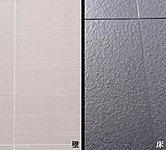 浴室の床タイルと壁パネルには高級感のある磁器質タイルを採用。目地にはカビの出にくい清潔な仕様になっています。