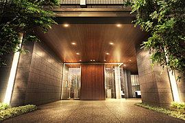 プライベート空間へと優しく誘うエントランス。帰宅される方やお招きしたお客様をお迎えするエントランスは、3本の柱が強調されたデザイン。