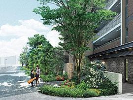"""平塚市が提唱する""""緑のネットワーク""""エリアに位置することから敷地を包み込むように植栽し、グリーンプロムナードの一端を形成。恵まれた気候と四季の移ろいが豊かに感じられる日常がはじまります。"""