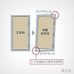 玄関ドアとドア枠のスペースに余裕を持たせ、地震によりドア枠が変形した場合でも開くように配慮。避難路の確保に貢献します。