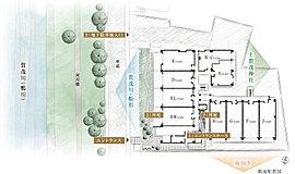 この土地から得られる敷地レイアウトを熟考し、上賀茂神社・賀茂川・南に開けた住棟を配置しており、ライフスタイルに応じた趣向を凝らしています。また、それぞれの住戸にゆとりある広さを確保しており、より一層の開放的な空間を演出します。