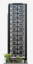 エントランスのある西面はシンボル性を醸し出す凸形状の意匠とし、白系色と黒系色の対比と相まって建物全体にリズム感を与えます。