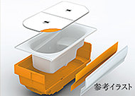 浴槽の周辺を断熱材でしっかりと囲んだ形状で、断熱効果を高めお湯の温度低下を抑えます。省エネ効果に優れています。