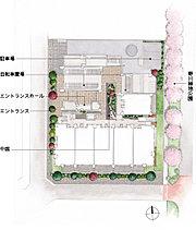 3方角地ならではの開放感と独立性。建物外周に緑が連続する植栽を。※敷地東側は、野川緑地公園の一部をはさんで道路となります。