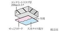 コンクリートスラブと仕上げ材の間に空間を設けた二重天井。※屋根を除く