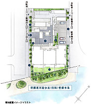 【1】歩道状空地【2】エントランスホール【3】専用庭付1階住戸【4】坪庭【5】歩車分離