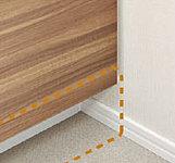 洗面台下部の巾木部分を、収納扉面より奥に10㎝ずらしました。