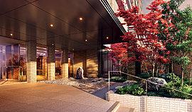岡崎城の景観や川の流れをイメージした和モダンな中庭。城壁を模した気良石の小端積みと、主木となるイロハモミジが風格ある景色を創造。新緑や紅葉が、暮らしに豊かな彩りを添えてくれます。