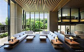 静謐な広がりが心地よいエントランスホール。足元から天井にまで達するガラスウォールや、大地との共生を象徴する土の風合いを活かした壁面タイル、日本の伝統的な意匠美を感じさせる木調ルーバーの天井などにより、造形の粋を創出しました。