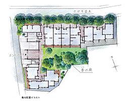 中央に中庭を抱くようにして住戸棟を配置。中庭では、枝垂れ梅、桜、サルスベリ、モミジなどの既存樹と新たな植栽により、四季の移ろいを身近に感じられます。