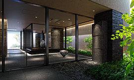 エントランスホールなどの共用部は、アートギャラリーのような美意識が息づく空間を目指しました。エントランスホールのガラス壁の周りには、植栽を配したライトコートやオブジェを設置したアートスクエアが広がります。