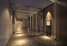 目指したのは、洗練と調和を図るための、シンプルでミニマムな構成美。エントランスにおいても、華美な装飾をほどこさず、近未来的な都市・川崎のイメージを継承するデザインを追求。クールでありながら、美しく印象的な世界観を構築しています。