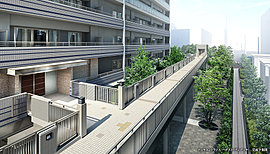 街区内の2階部分はペデストリアンデッキ※1で結ばれ、「品川シーサイド」駅前をはじめ、ショッピングモール「オーバルガーデン」や「イオン品川シーサイド店」へ横断歩道を使わず快適にアプローチできます。※1.2019年3月下旬完成予定