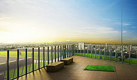 ※計画段階の図面を基に描き起こしたものに本件建物の東隣接建物(約27m)・地上約94m(屋上・30階相当)にて撮影(2016年2月)した西向きの眺望写真をCG合成したもので、実際とは多少異なる場合があります。※2