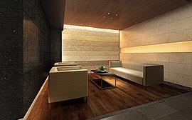 2階ラウンジは、日本の伝統美と、モダンなデザインを融合させた空間に仕上げました。温かみのある無垢木で仕上げたフローリングのフロア。