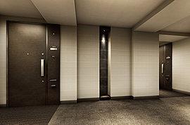 プライバシー性の高いホテルライクな内廊下を採用。外からの視線や雨風にさらされることなく、私邸へとエスコートするに相応しい静謐な空間としました。