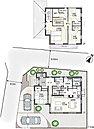 [1号地 プラン図]図面を基に描いておりますので、プラン及び外構・植栽などは実際と多少異なる場合があります。また、一部の家具はは価格に含まれますがそれ以外の家具・調度品・車などは価格に含まれません。