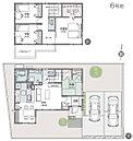[6号地 プラン図] 図面を基に描いておりますので、プラン及び外構・植栽などは実際と多少異なる場合があります。 また、家具・家電・備品・車等は価格に含まれません。