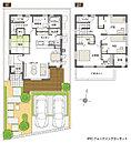 [プラン図] 図面を基に描いておりますので、プラン及び外構・植栽などは実際と多少異なる場合があります。また、展示の家具は価格に含まれますが、その他の家具・家電・備品・車等は価格に含まれません。