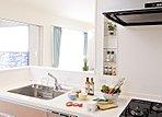 キッチンにはスペースを利用してニッチを設けています。写真の様にグリーンを置いてもキッチンが明るくなっていいですね。 (12号地モデルハウス)