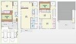 施工例写真は2階建プランでしたが、こちらのような3階建ホームエレベータ付プラン(2台駐車)もございます。