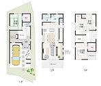 【サンプルプラン】1階には納戸を要す6畳の和室をレイアウト。2階には水回りを集約することで家事動線もスムーズに、南向きのバルコニーからは陽光がたっぷり降り注ぎます。