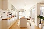 【当社施工例】明るい日差しが差し込みキッチン。どこかドラマのようなワンシーンのような雰囲気です。