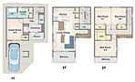 【2号地】建物価格1,728万円、建物面積102.87m2 パパの嬉しい書斎や家族みんなで使えるスタディーコーナー、ママ専用のパントリーなど家族みんなが嬉しいプラン。