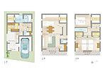 【3号地サンプルプラン例】4LDK、土地価格1,602万円、土地面積65.20m2、建物価格17,28万円、建物面積104.49m2