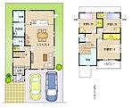 LDKは23帖。水廻りをまとめて家事のしやすい住まいです。