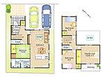 キッチンから直線で結ぶ水廻りで家事効率に配慮。LDKと続きの和室など家事をしながらも目が届くきやすい間取りです。