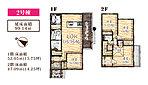 【オレゴン物語 八千代台北】 2号棟間取り 各部屋に収納スペースあり。リビングイン階段の上家族の顔が見えるシステムキッチンを採用しています。