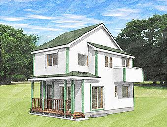 【オレゴン物語 下九沢】4号棟 外観予想パース 美しさと機能性を両立させた上質なオレゴン・ハウスです。