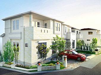 煌く朝日が照らす白壁と青空のコントラストが美しい全5邸の街並み。