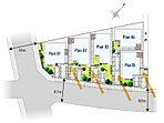 東南側8m道路から爽やかな陽光を導く配棟計画。