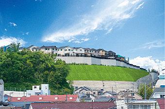 全141区画の大型分譲地。360°高台の開放眺望。圧倒的な開放感を享受する「山の手の邸宅街」。この地の空の広さを実感させてくれます。現地(2014年5月)撮影