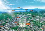 緑に包まれ海に臨む街「横須賀」に、丘の上の邸宅街が誕生。「美しい青空の下、壮大な景色を眺める」ゆとりの時間が実現する(2011年2月撮影 一部CG処理を施したもので、実際とは多少異なる)