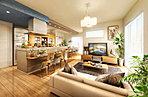 360°自由に動けるアイランドキッチンのある家。
