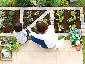 敷地の広さを生かして設けた家庭菜園スペース