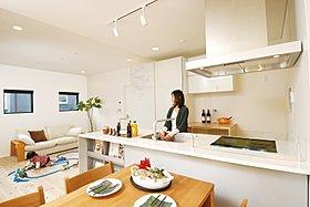 【プラン3】家族の様子が見える、フルオープンキッチン。