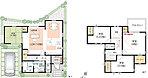 12号地 敷地面積/100.50m2、建延面積/99.36m2〔1階床面積/53.82m2、2階床面積/45.54m2〕